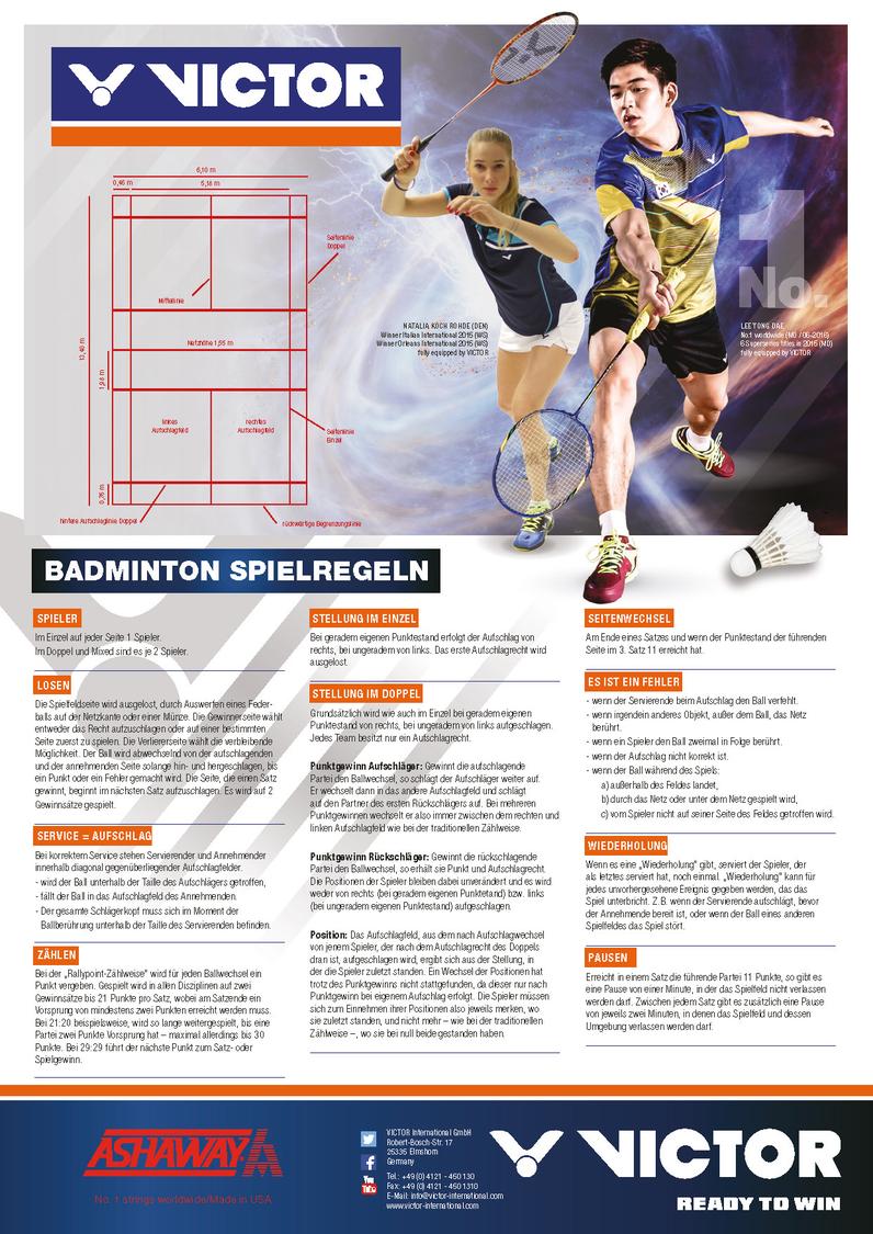 Spielregeln Badminton
